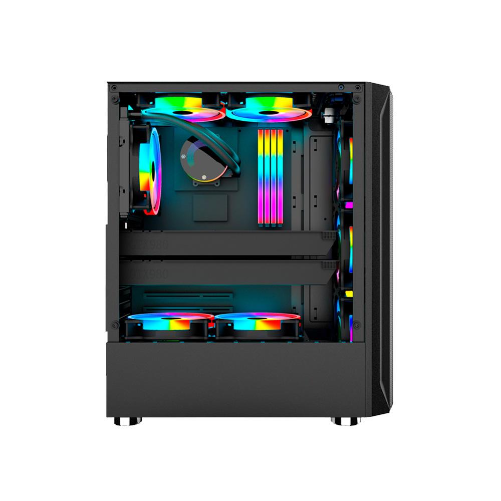Gabinete Gamer em Vidro Temperado USB 3.0 C/3Fans RGB Incluso Hayom - GB1706  - Districomp Distribuidora