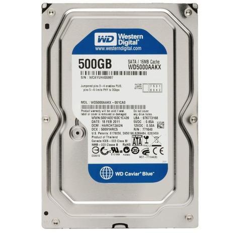 Hd Interno 500gb Sata 3 16mb 7200rpm 3,5 Wd5000aakx Western Digital