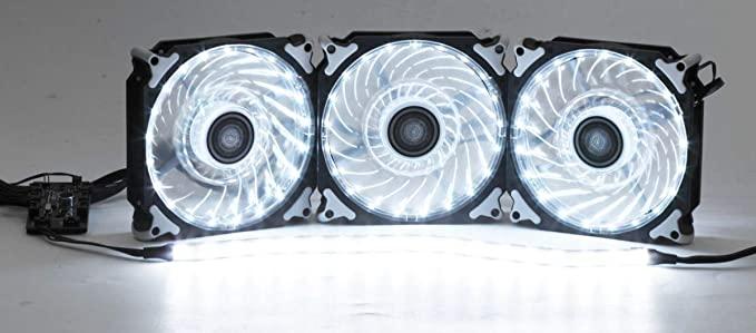 Kit 3 Cooler Fan led 1200m rgb c / Fita e controle - DX123R  - Districomp Distribuidora