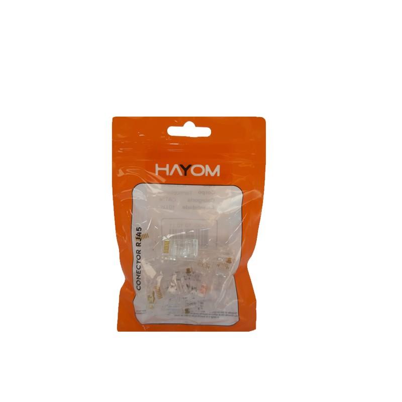 Kit c/ 10 Conectores RJ45 CAT5E Soho Plus Lan Plug Rede - Hayom - AI1012  - Districomp Distribuidora