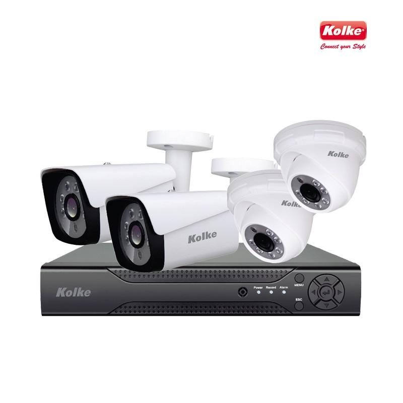 KIT DE CFTV KOLKE 1 DVR 4 CANAIS 1080N  4 CAMERAS + ACESSORIOS CABOS FONTE KUK-278 - 626225