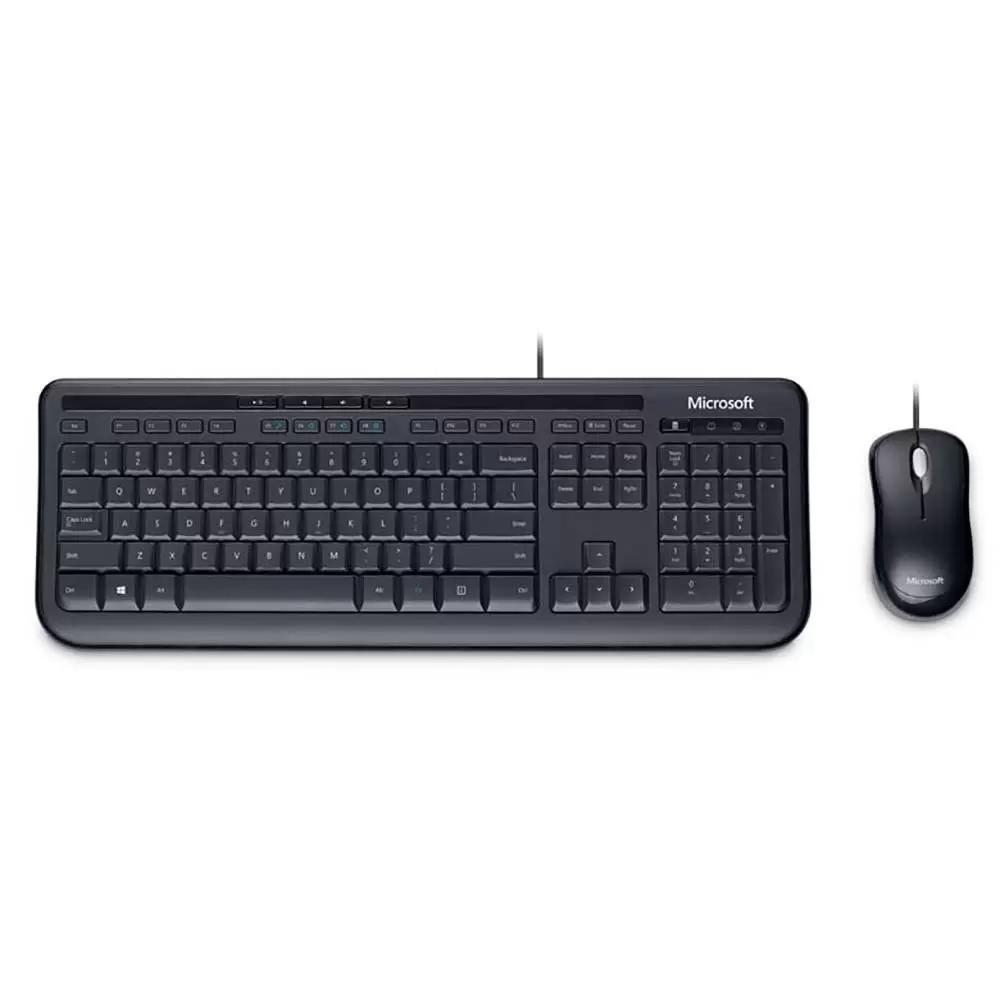 Microsoft Teclado e Mouse Com Fio Desktop 600 Usb Preto - APB00005