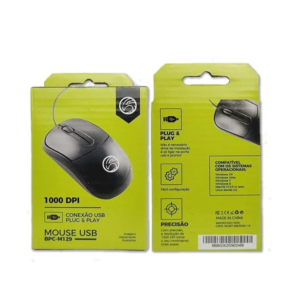 Mouse Usb Optico Brazilpc Bpc-N129 1000 Dpi Preto 1.2M (100x59x35) Box  - Districomp Distribuidora