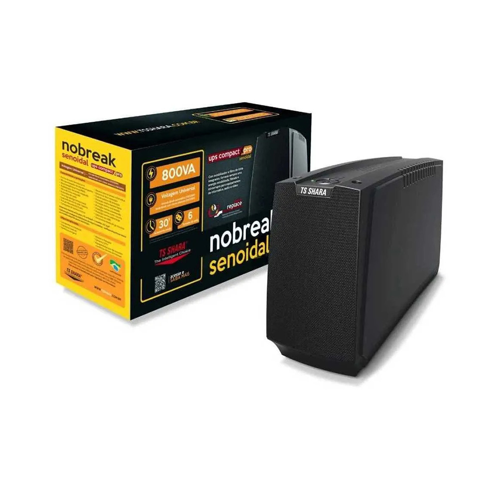 Nobreak TS- Shara  Ups Compact Xpro Senoidal 800va Biv ENT-115V/220/SAI-115V/220V 6TM  1Bat sel 12v7ah (4447)  - Districomp Distribuidora