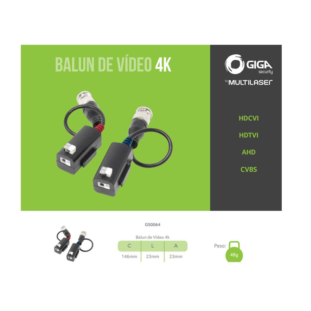 Par Balun Vídeo CFTV Passivo 4K GS0064 Giga  - Districomp Distribuidora