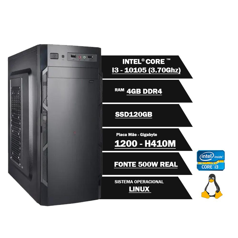 Pc Computador Desktop Core I3 10105 3.70Ghz 4GBDDR4 SSD120GB HDMI FT500WPFCAT GN LINUX(U)