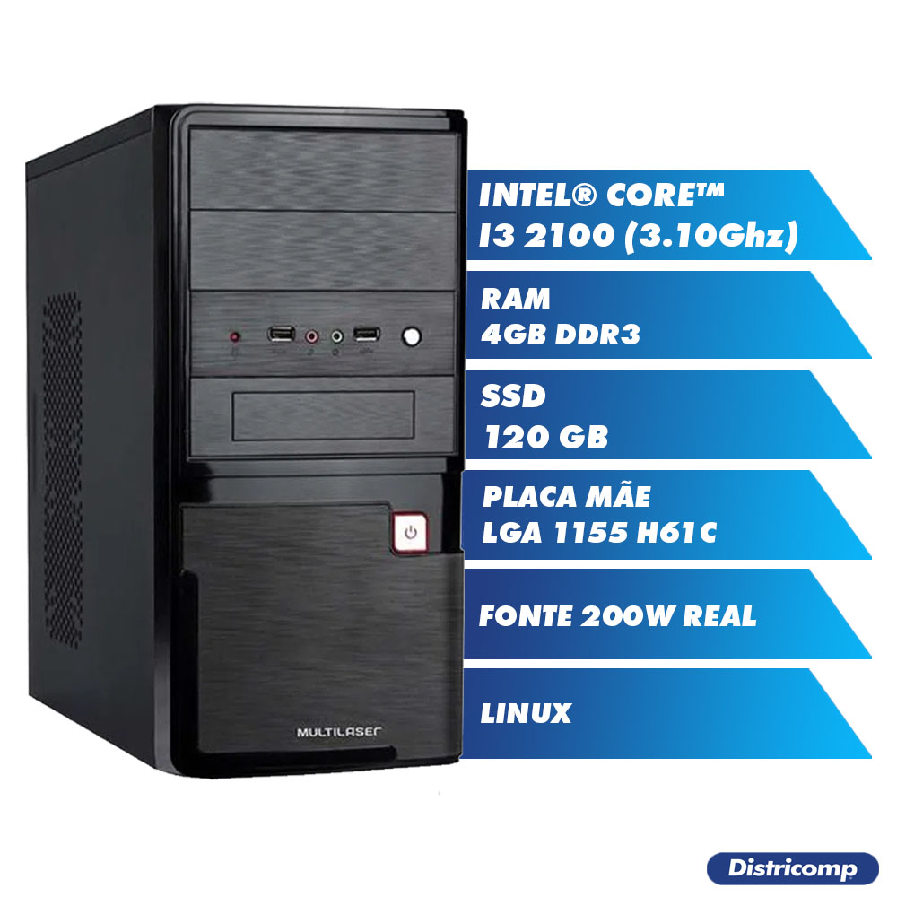 Pc Computador Desktop Core I3 2100 3.10Ghz 4GBDDR3 SSD120GB VGA HDMI PCI-E FT200W GN LINUX (U)