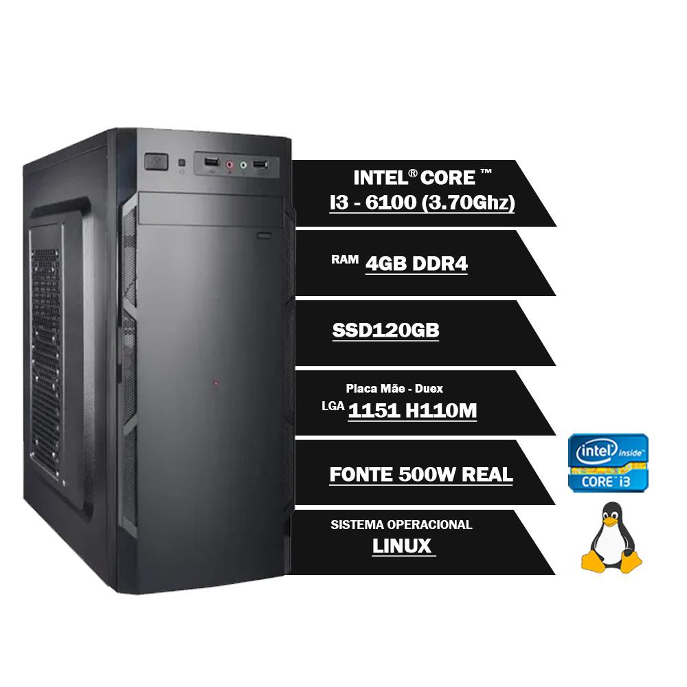 Pc Computador Desktop Core I3 6100 3.70Ghz 4GBDDR4 SSD120GB VGA HDMI FT500WPFCAT GN LINUX(U)