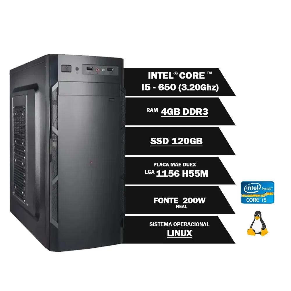 Pc Computador Desktop Core I5 650 3.20Ghz 4GBDDR3 SSD120GB VGA HDMI FT200W GN LINUX(U)  - Districomp Distribuidora