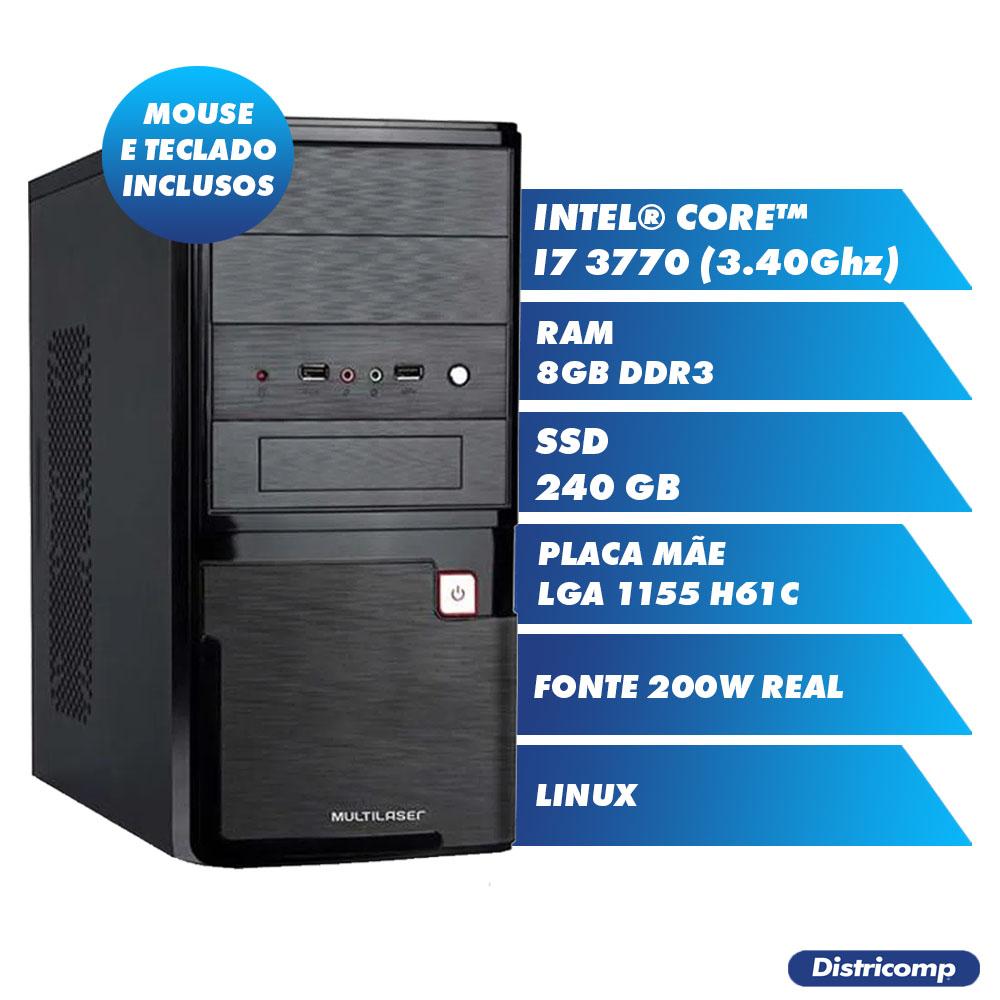 Pc Computador Desktop Core I7- 3770 3.40Ghz 8GB Ddr3 SSD240GB Vga Hdmi Pci - E FT200W GN Linux (U)