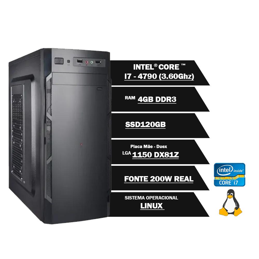 Pc Computador Desktop Core I7 4790 3.60Ghz 4GBDDR3 SSD120GB VGA HDMI GN LINUX(U)  - Districomp Distribuidora