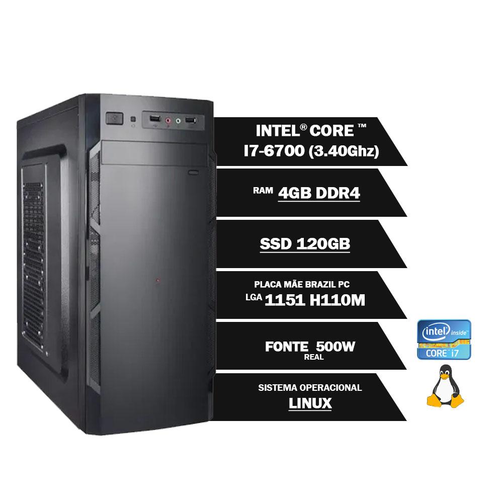 Pc Computador Desktop Core I7 6700 3.40Ghz 4GBDDR4 SSD120GB VGA HDMI FT500WPFCAT GN LINUX(U)