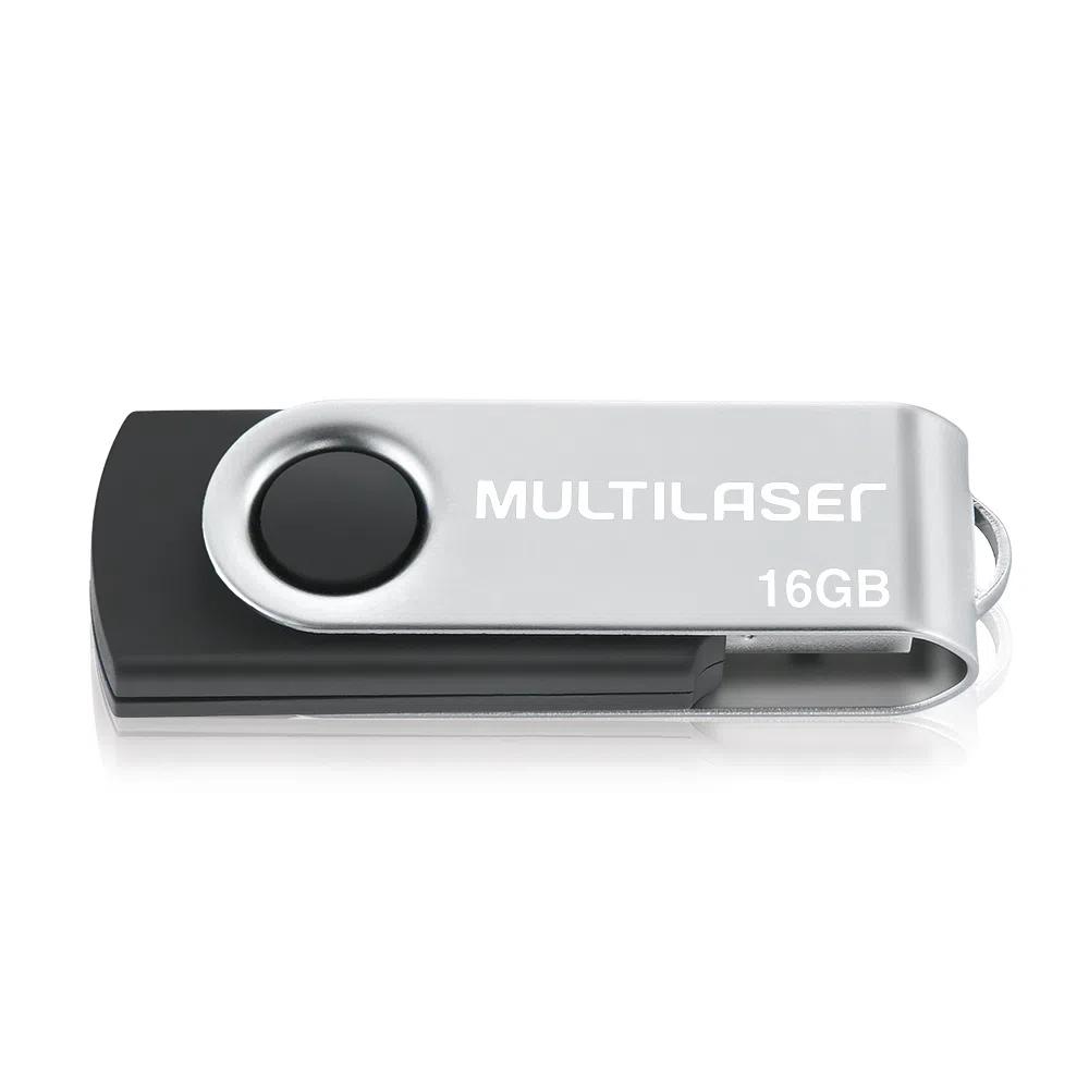 PEN DRIVE TWIST 16GB USB LEITURA 10MB/s e GRAVACAO 3MB/s MULTILASER PRETO - PD588  - Districomp Distribuidora