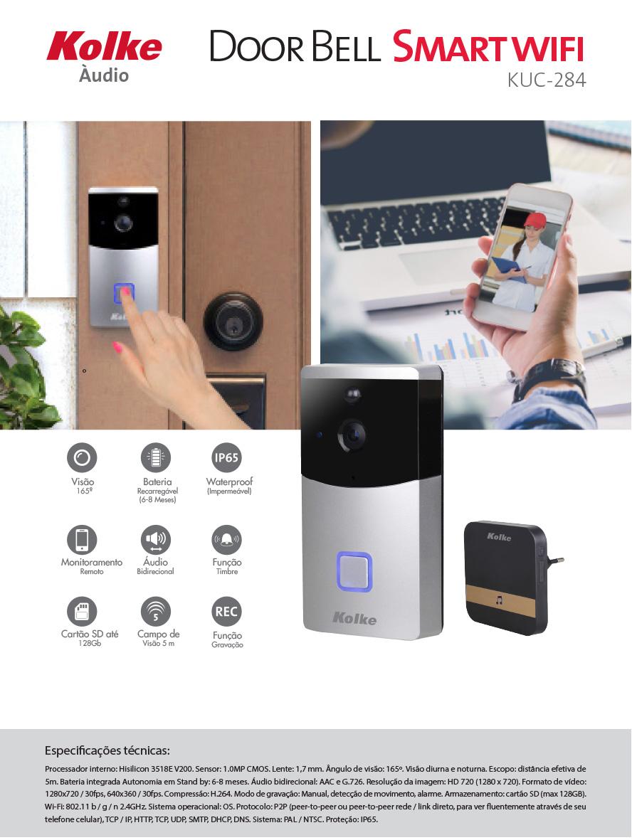 Porteiro Eletrônico Wifi 720p Com Monitoramento Via Celular Kolke  - Districomp Distribuidora
