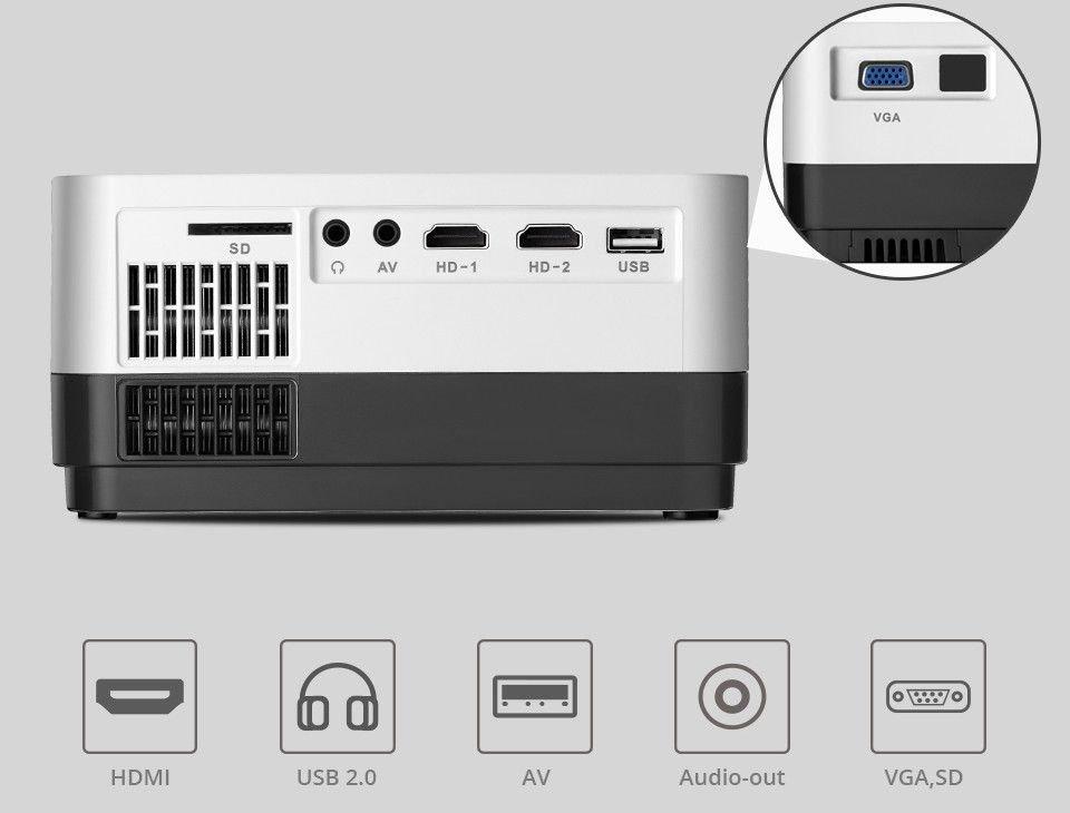 Projetor BrazilPC BPC-720P H3A 2800 lumens Preto/Branco (2xHDMI/1xUSB/1xVGA/AV/sd card) Box  - Districomp Distribuidora