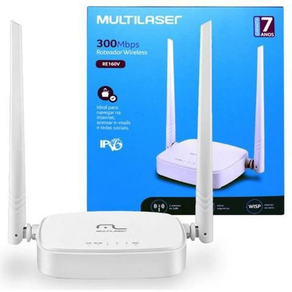 Roteador Multilaser wi-fi Wireless 300mbps 2.4 ghz ipv6 c/ 2 antenas - Re160v  - Districomp Distribuidora