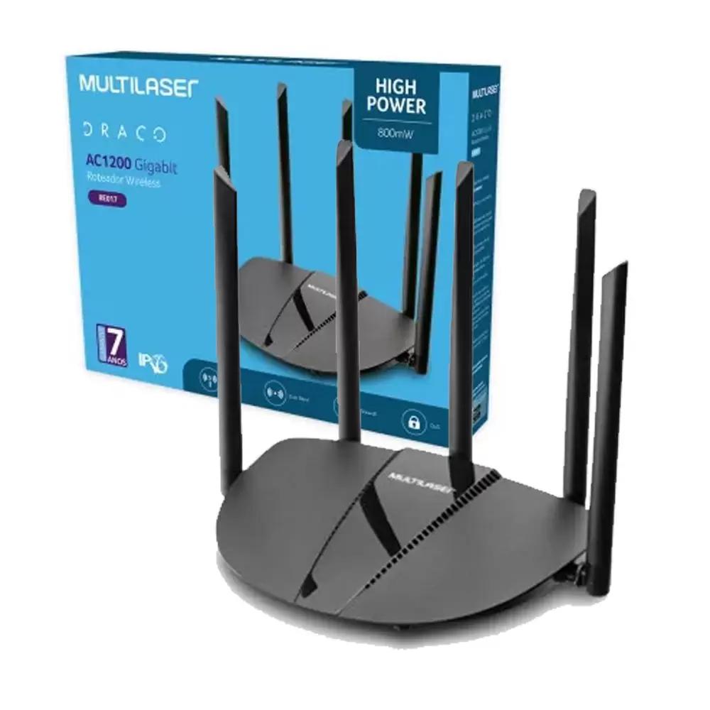 ROTEADOR WIRELESS HIGH POWER DUAL BAND GIGABIT AC1200 2.4Ghz/5Ghz IPV6 C/5 ANTENAS - RE017