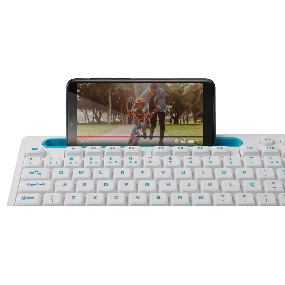 Teclado Multimidia Office Usb Branco Com Apoio Para Smartphone - TC263  - Districomp Distribuidora
