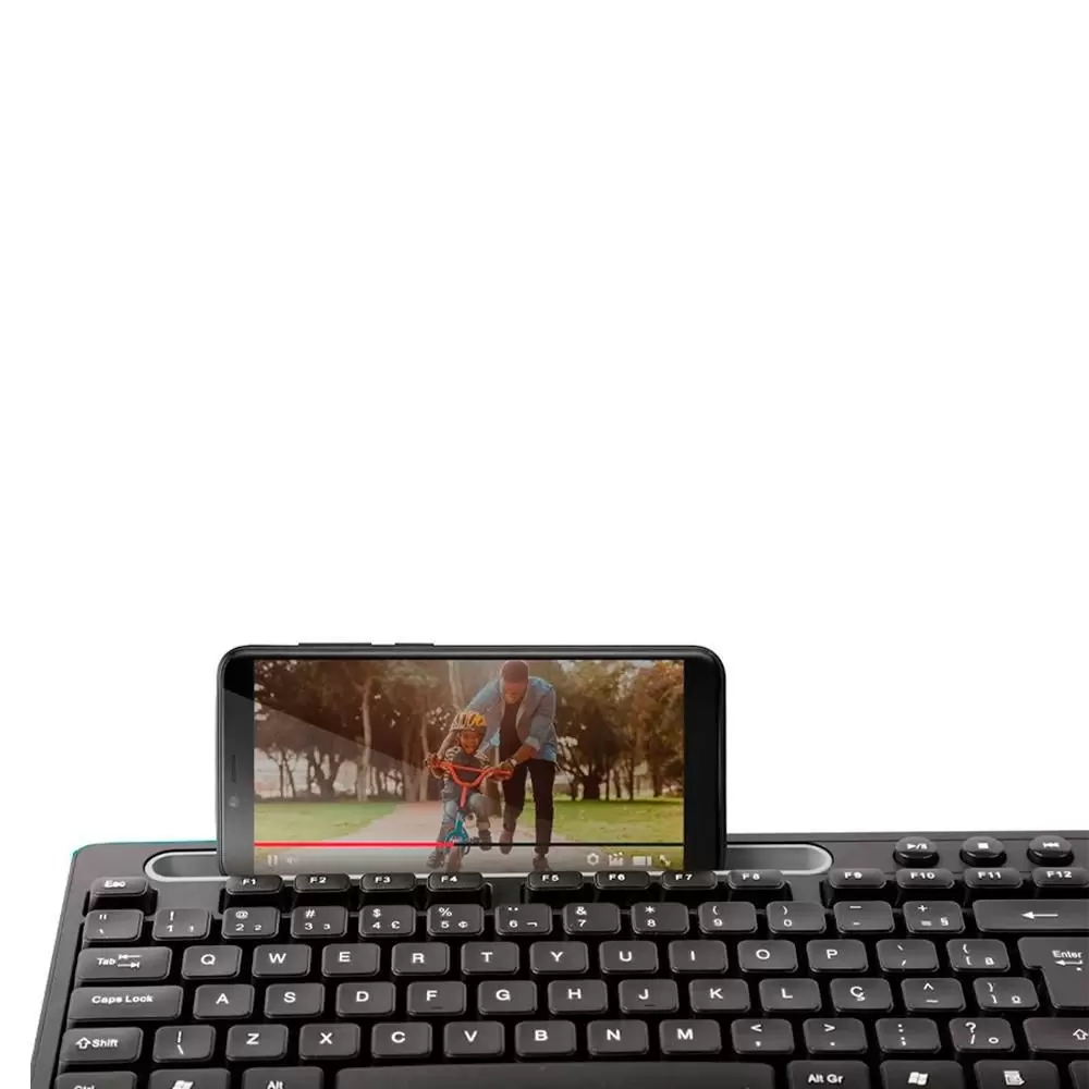 Teclado Multimidia Office Usb Preto Com Apoio Para Smartphone - TC262  - Districomp Distribuidora
