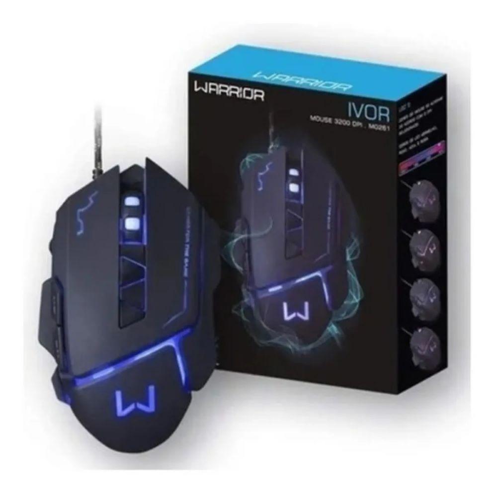 Warrior Ivor Mouse Gamer 3200dpi Preto - MO261  - Districomp Distribuidora