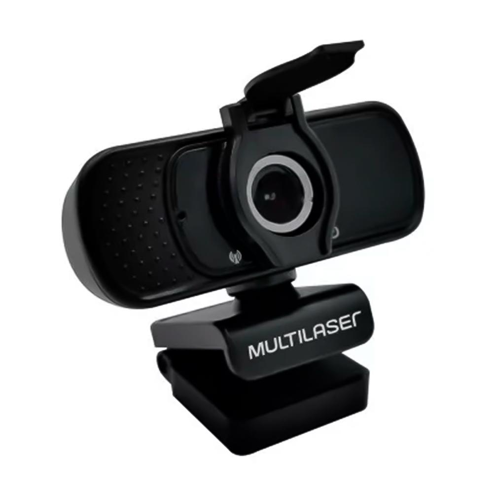 WEBCAM MULTILASER FULL HD 1080p (1920x1080) C/ TRIPE NOISE CANCELLING MICROFONE USB PRETO - WC055  - Districomp Distribuidora