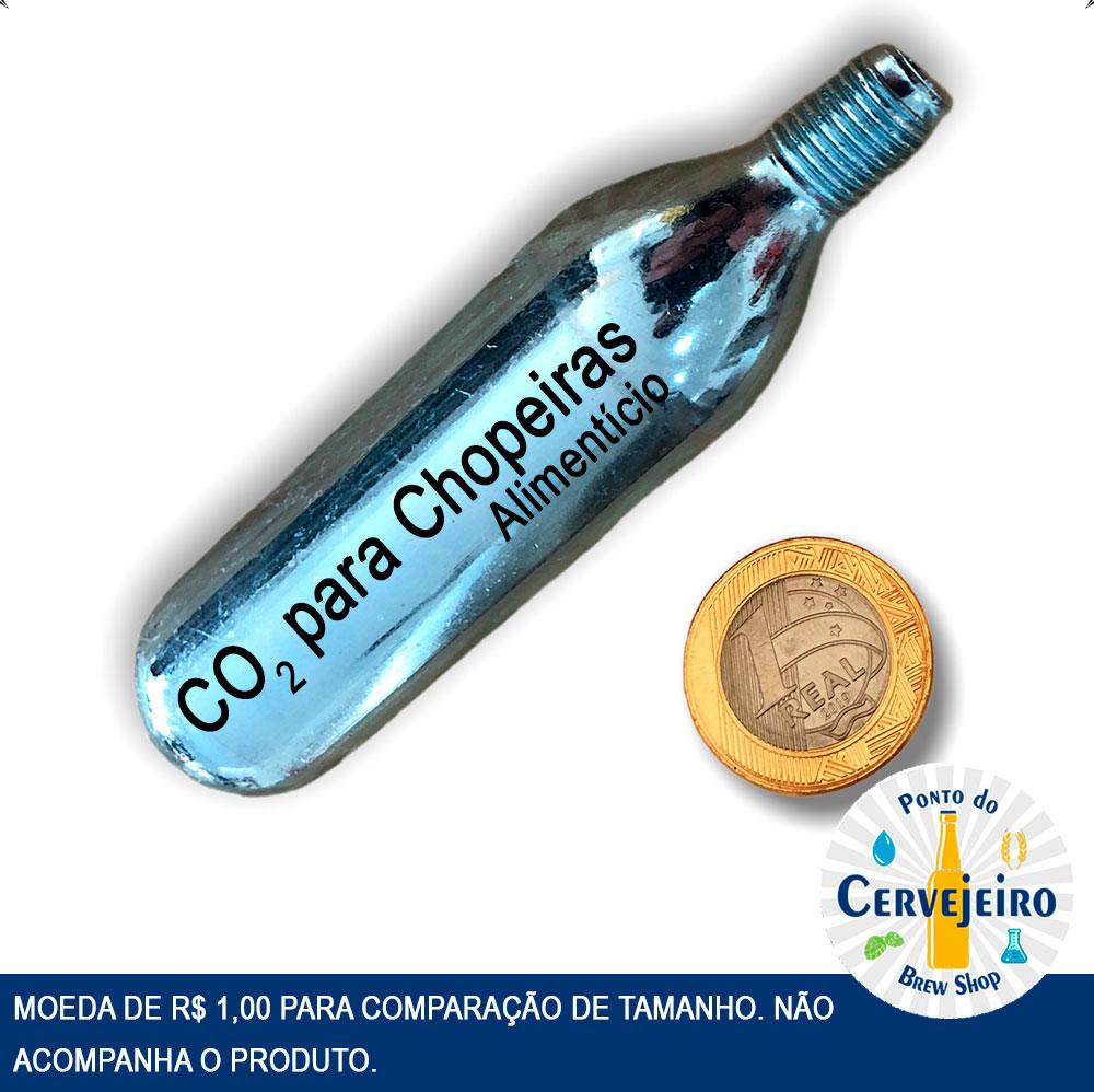 Cápsula CO2 Alimentício Cilindro 16g rosca 3/8 Chopp Cerveja c/10