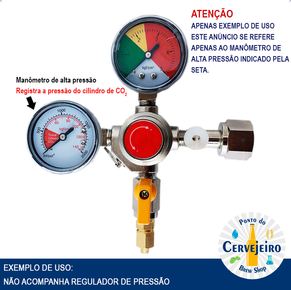 Manômetro Alta Pressão 140 kgf para regulador de CO2 HBS