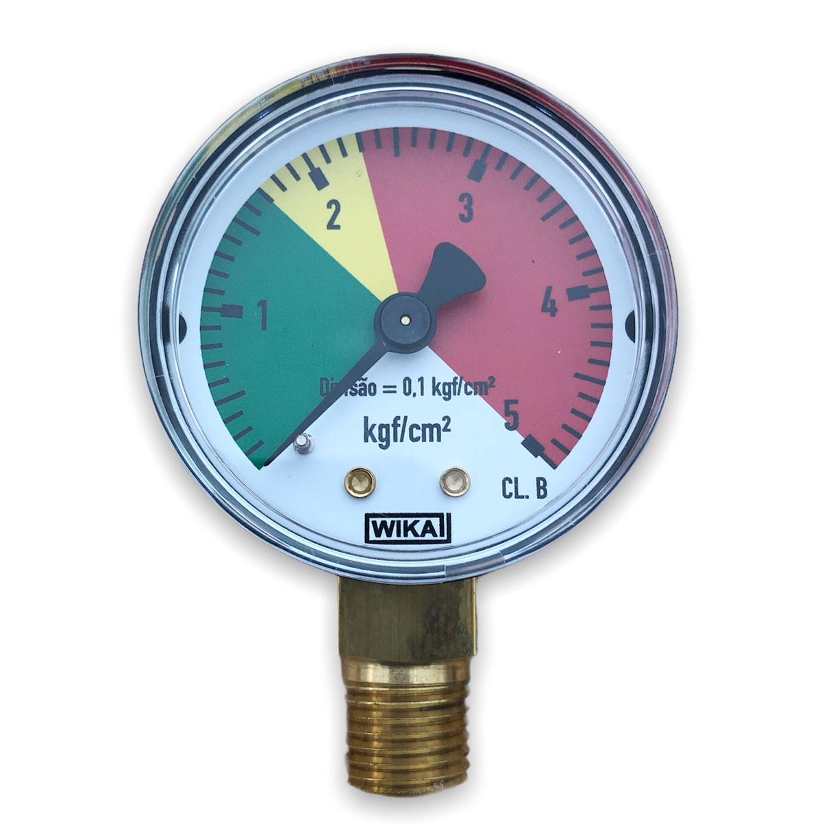 Manômetro Baixa Pressão 5 kgf  para regulador de CO2 WIKA