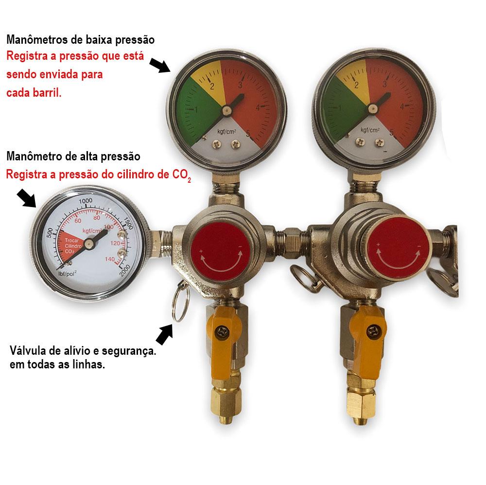 Regulador de Pressão para CO2 -  5 vias (manifold)