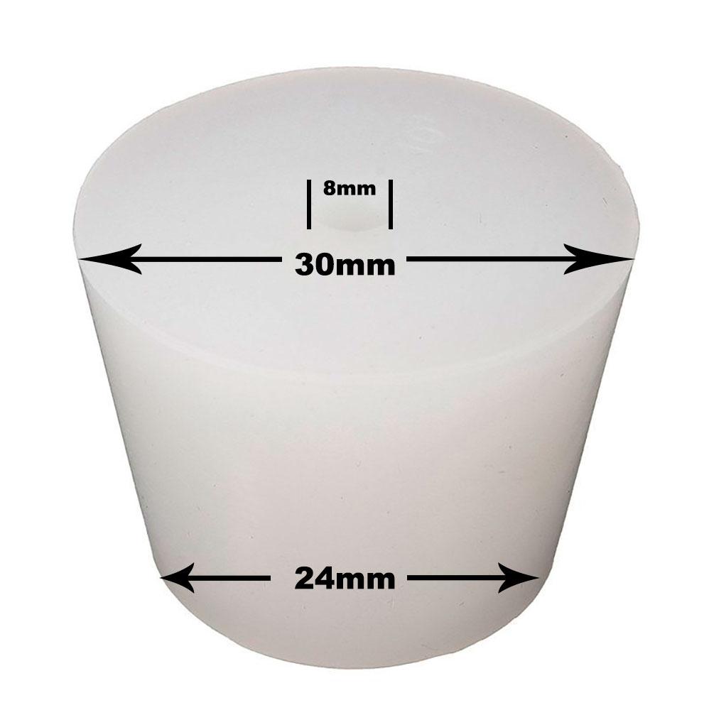 Rolha de Silicone p/Airlock com Furação 8mm