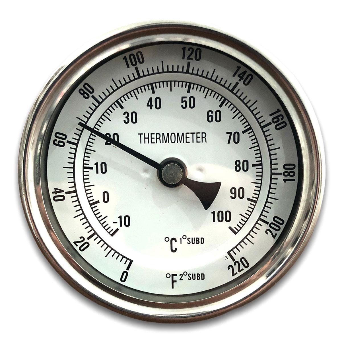 Termômetro em Aço Inox para Caldeirões Cervejeiros -10 a 100
