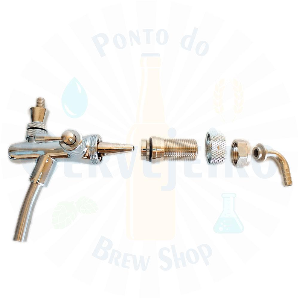 Torneira Tipo Italiana p chope c/ controle de fluxo Completa
