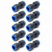 Conexão Pneumática Emenda Reta Push-In Mang. 12mm x 12mm
