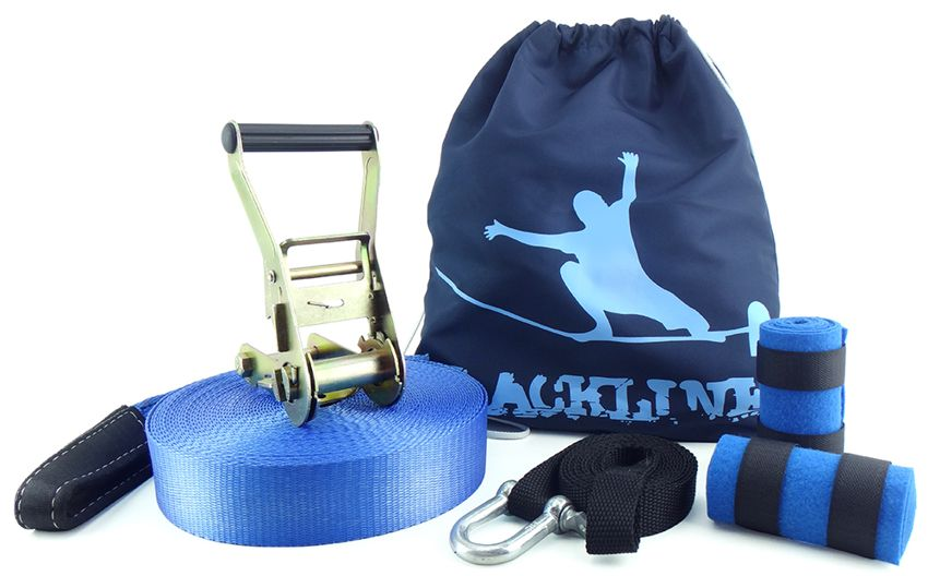 Slackline 15 Metros - Azul + Protetor + Bolsa + Backup