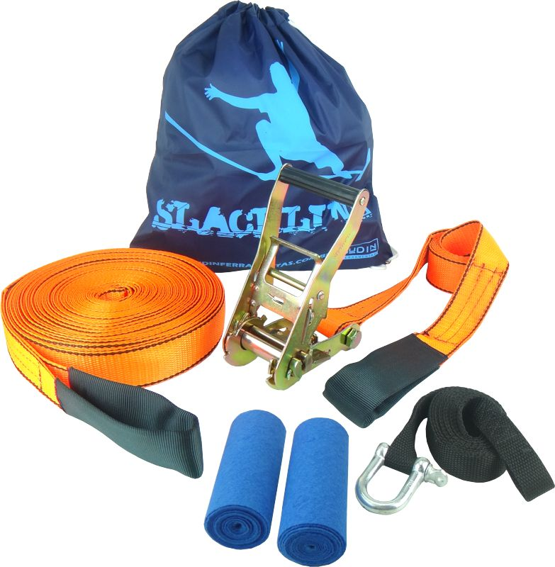 Slackline 15 Metros - Laranja + Protetor + Bolsa + Backup