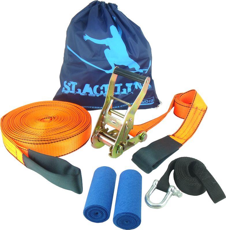 Slackline 20 Metros - Laranja + Protetor + Bolsa + Backup