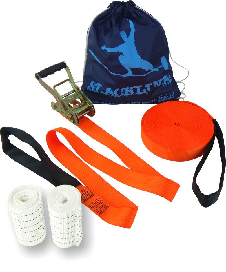 Slackline Kit Completo 20 mts + Protetor e Bolsa - Cor Laranja Fluorescente