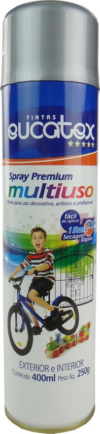 Tinta Spray Multiuso Profissional  Eucatex 400ml - Alumínio