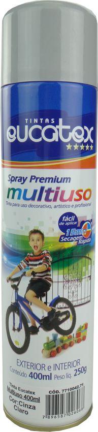 Tinta Spray Multiuso Profissional  Eucatex 400ml - Cinza Claro