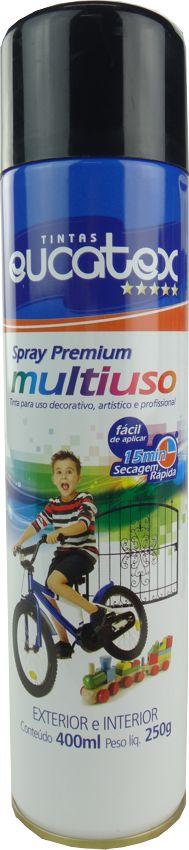 Tinta Spray Multiuso Profissional Eucatex 400ml - Preto Brilhante