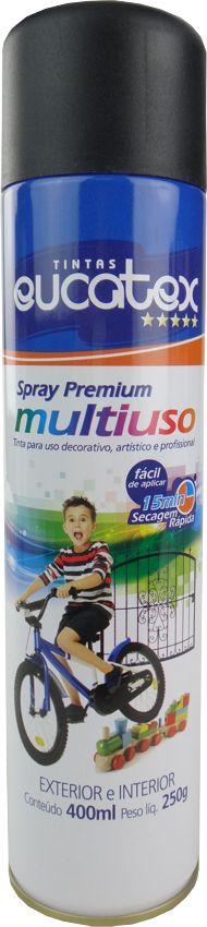 Tinta Spray Multiuso Profissional Eucatex 400ml - Preto Fosco