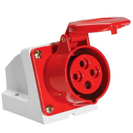 Tomada Industrial Sobrepor 2P+T 6h 16A 220-250v - Vermelha