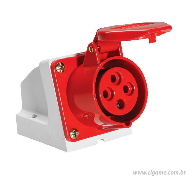 Tomada Industrial Sobrepor 3P+T  6h  32A 380v  - Vermelha