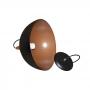 Luminaria lustre Pendente - Meia Bola - Preto com Cobre - 32cm