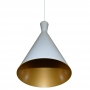 Luminaria Pendente Cone Branco ou Preto com Dourado 35cm x 18cm