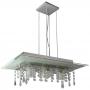 Lustre pendente de vidro com cristal para 03 lâmpadas