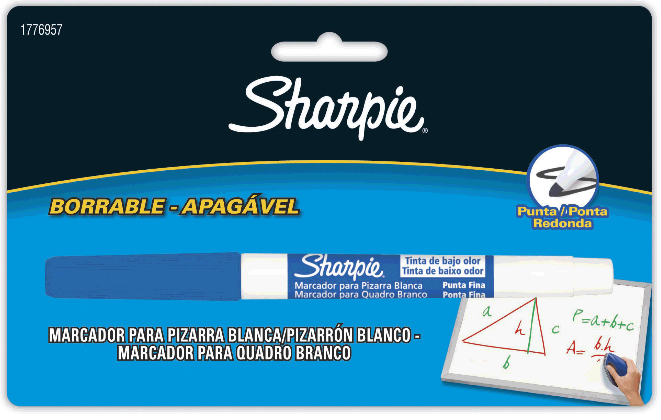 BLISTER C/1 MARCADOR P/ QUADRO BRANCO SHARPIE FINO AZUL