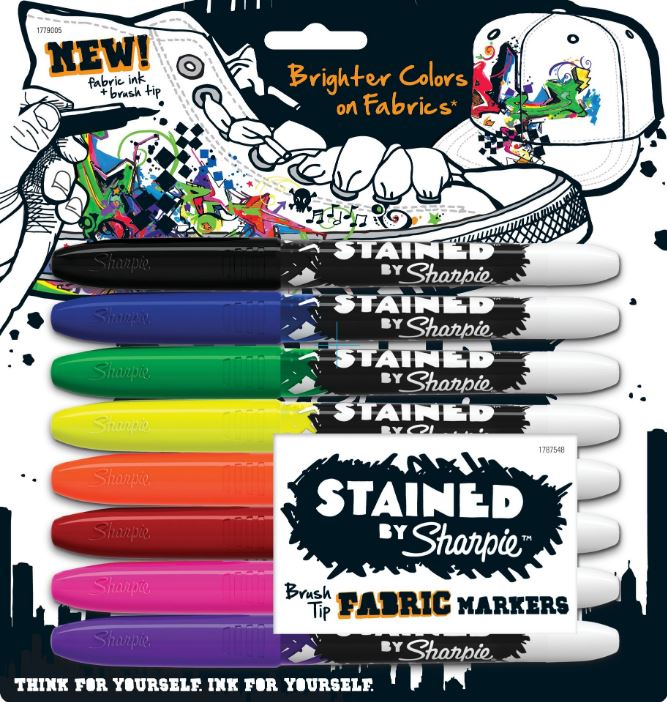 BLISTER C/8 MARCADORES PERMANENTE SHARPIE STAINED BRUSH TIP P/ TECIDO SORTIDO