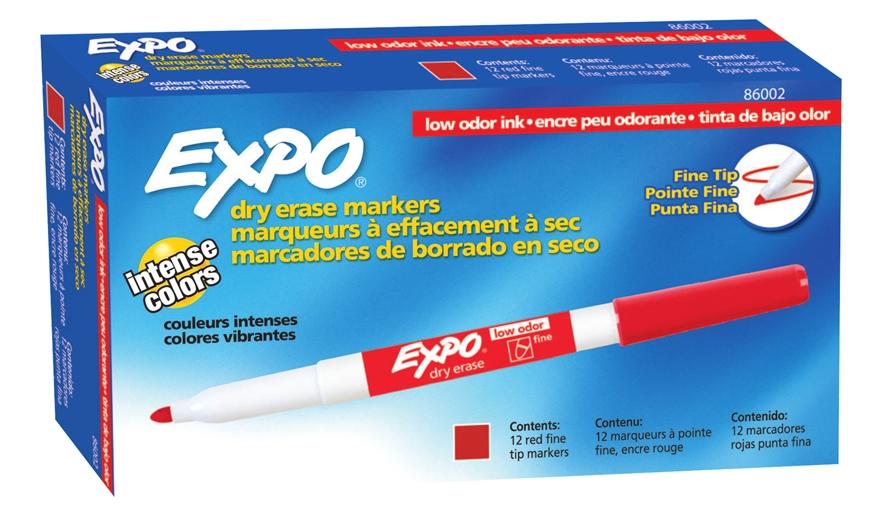 MARCADOR P/ QUADRO BRANCO SHARPIE/EXPO FINO VERMELHO    - CX C/12 UN