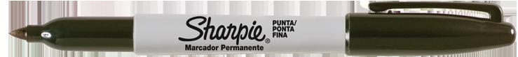 MARCADOR PERMANENTE SHARPIE FINO PRETO    - CX C/12 UN